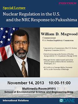 미 원자력규제위원회 Magwood 위원, 포스텍에서 특별강연