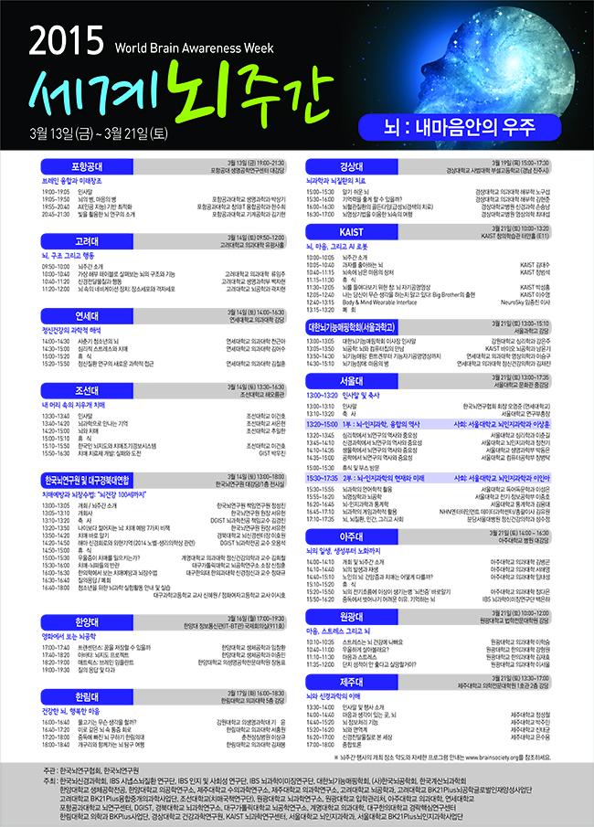 세계 뇌 주간 행사는 누구나 무료로 참석할 수 있으며, 자세한 사항은 한국뇌연구협회 홈페이지(http://brainsociety.org/)에서 참조할 수 있다.