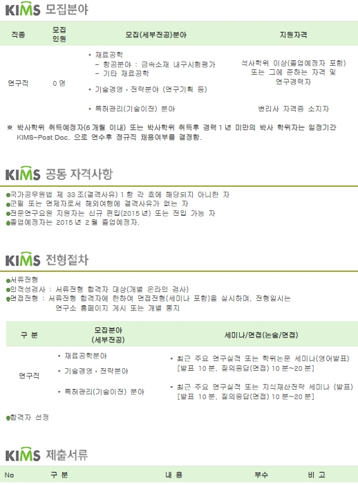 KIMS재료연구소 - 2014-2차 정규직 직원 모집공고
