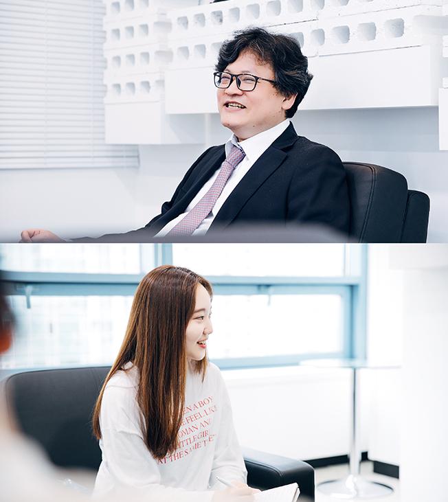 '카페 24' CEO 이재석 씨와 정채윤 씨의 인터뷰 이미지