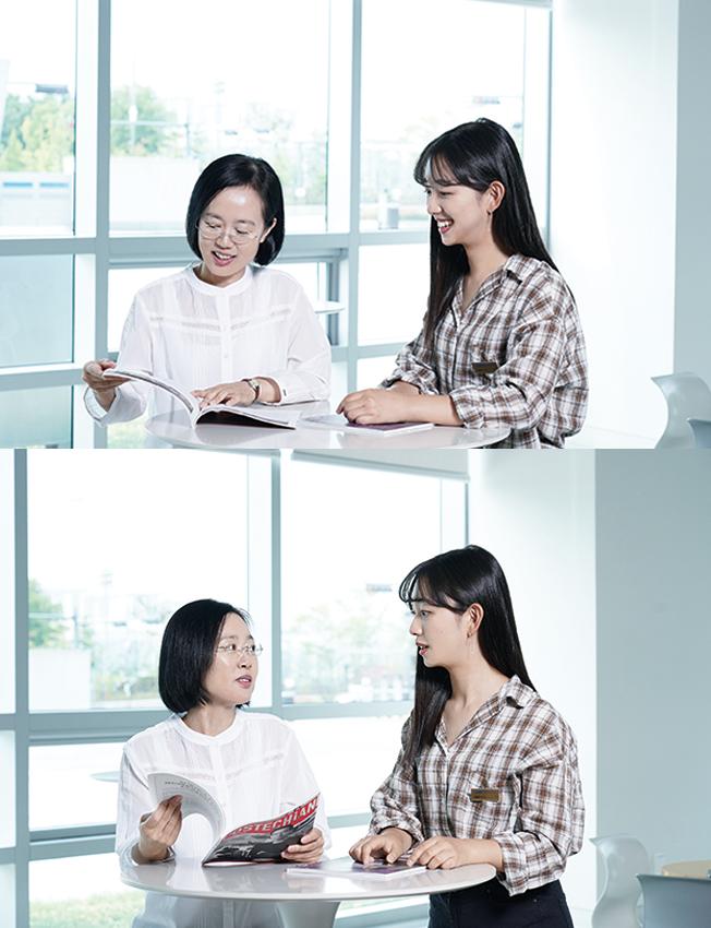 장은주 선배님과 인터뷰 하는 이미지