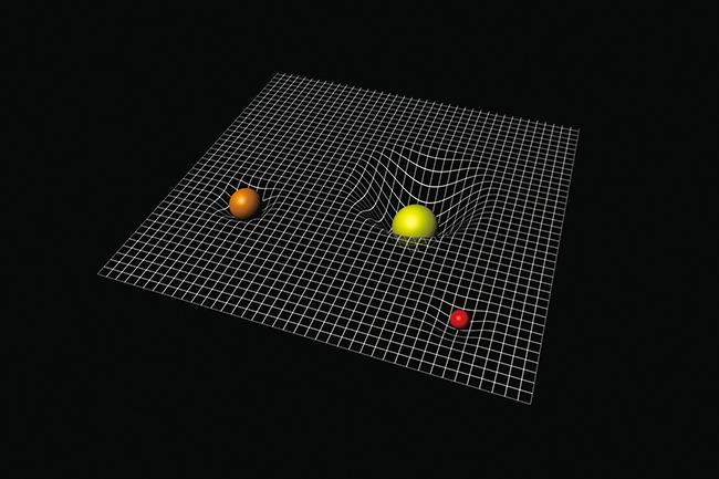 일반 상대성이론의 관점에서 바라본  중력으로 인한 공간의 휘어짐을 보여주는 이미지
